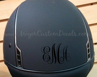 3 Styles - Helmet Monogram- Set of 4 - Decal - Sticker -  YOU PERSONALIZE - Many Colors! - Equestrian - Horseback - Horse - Riding