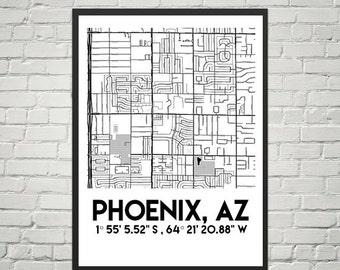 Map Poster of Pheonix, Arizona (Instant Download)