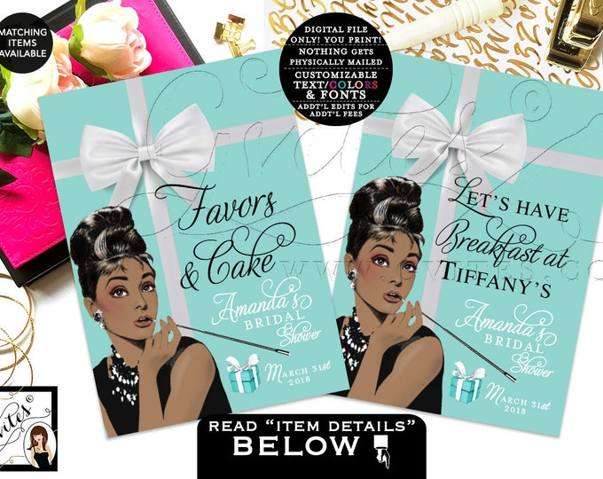 "Custom Audrey Hepburn favors and cake sign, breakfast at party favors, decorations, bridal shower turquoise blue {Set of 2 4x6"" or 5x7""}"