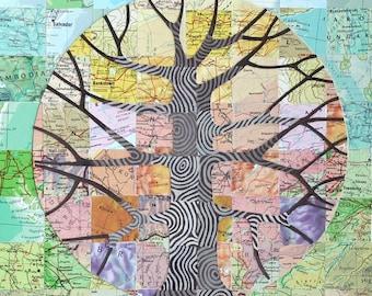 Carte arbre art print, art géométrique, papiers vintage carte, spectre arc-en-ciel pastel