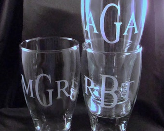 Personalized Pilsner Glasses, Set of 8 - Etched Beer Mug, Etched Beer Glass