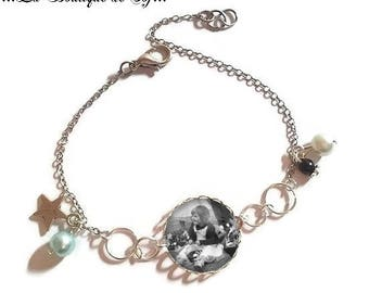 To personalize: Bracelet fine silver with 18 mm cabochon