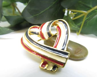 Vintage Enamel Heart Pin Red White and Blue Enamel Heart Pin Enamel Pin Heart PIn Vintage Enamel Pin Enamel Ribbon Heart Pin
