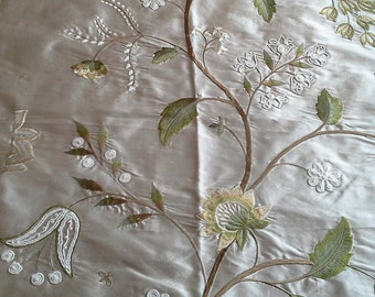 """James Hare SILWOOD SILK Floral Embroidered Corded Pure Silk """"Blanched Almond Natural"""" 17.25in x 16in (44cm x 41cm) Cream Taupe Green"""