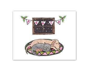 Animal Holiday Card / Cute Holiday Card / Holiday Cards / Christmas Cards / Animal Card / Peace on Earth Card / Mishka Marie Art