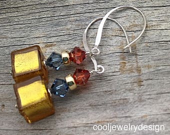 Gold Murano Glass Crystal Sterling Silver Geometric Dangle Earrings,  for Her Under 100, Free Gift Wrap, OOAK