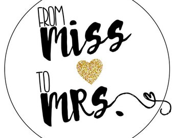 miss to mrs wedding stickers, gold miss to mrs bridal shower labels, gold heart wedding stickers, wedding gold glitter labels