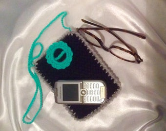 Hand made cases for glasses, cell phone knit organic cotton. Fantasia crochet decor.