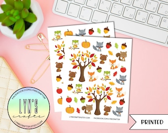 Cute Fall Animal Stickers // Planner Stickers // Cute Stickers // Animal Stickers // Fall Stickers
