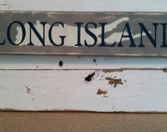 Long island sign with image of Long Island