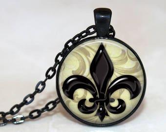 Shiny Black Fluer De Lis Pendant, Necklace or Key Chain - Silver, Bronze, Copper or Black Setting