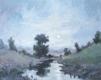 Moony night -original oil painting, landscape oil artwork