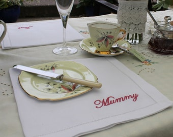 Place Setting Napkins - Linen Napkins, Linen Hemstitch Napkins, Personalised Napkins, Place Setting Idea, 4th Wedding Anniversary Gift