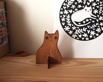 Wooden sitting cat desk ornament - Desk pet - Laser cut cat - Wooden cat - Desk cat - Cat gifts - I like Cats - cat standee - ornament