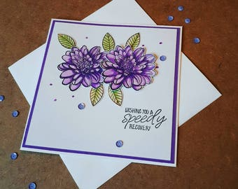 Get well soon card, speedy recovery card, floral get well card, watercolour card, purple card,