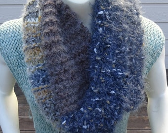HANDKNIT CHUNKY INFINITY Scarf, Hand knit Wool,Angora,Acrylic lnfinity scarf in veragated yarn. Great Gift.