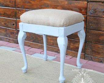 Plumbago French Provincial Bench Stool with Hidden Storage