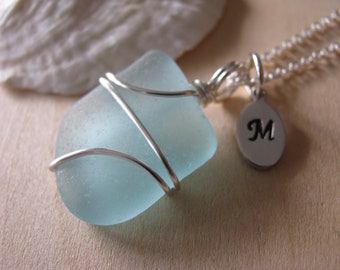 Blue Sea Glass Necklace Hand Stamped Aqua Sea Glass Jewelry Wire Wrapped Beach Glass Pendant