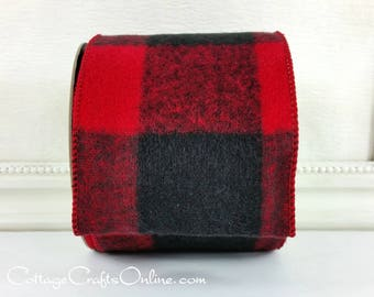 "Wired Ribbon, 4"", Red and Black Flannel Buffalo Plaid - FIFTY YARDS - d Stevens ""Jumbo Buffalo Red"" Check Wire Edged Ribbon"