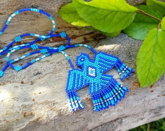 Beaded Huichol Eagle Necklace ~ Native American Thunderbird Jewelry ~ Mexico Huichol