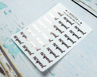Foiled Hand Lettered No Spend Typography Planner Stickers for Erin Condren, Plum Planner, Inkwell Press, or Any Size Planners