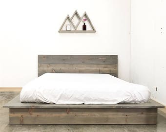 Deadwood Low Pro - Rustic Modern Low Profile Platform Bed Frame and Headboard - Loft Style - Solid Wood Handmade in USA