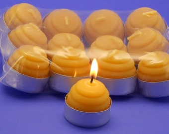 Beeswax Candles, Beehive Tea Light Candles, One Dozen Organic Beeswax Candles, Beeswax Tealights, Beeswax Cappings Candles, In Aluminum Cups