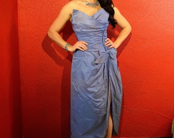 1950s Blue Taffeta Dress Petal Bust