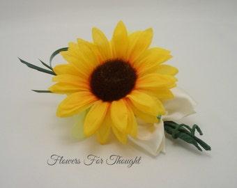 Sunflower Boutonniere, FFT Original, Groom Groomsmen, Silk Wedding Flower, Fall, Rustic Woodland, Mens Bridal Party Gift, Made to order