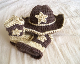 Brown Baby Cowboy Hat with Star and Boots Set - Baby Hat - Customize your Set - Baby Booties - Western Set - by JoJo's Bootique