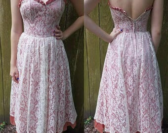 Vintage gunne sax dress xs extra small 1980s does 1950s  pink lace strapless party dress women's clothing
