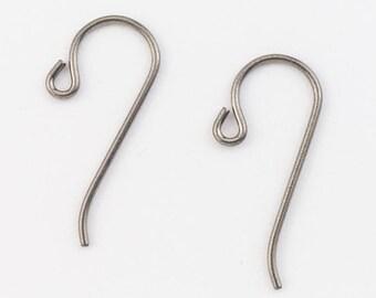 25mm Grey Plated Niobium Shepherd Hook Ear Wire #NFJ017