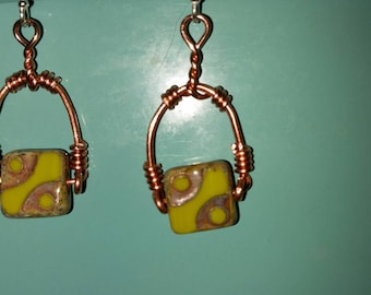 Copper stirrup earrings with Chartreuse Czech beads and sterling hooks