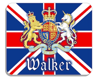 """British Flag Union Jack & Coat Of Arms England Mouse Pad Personalize Gifts For Office and Computer 1/4"""" Thick  Any Name-Text"""