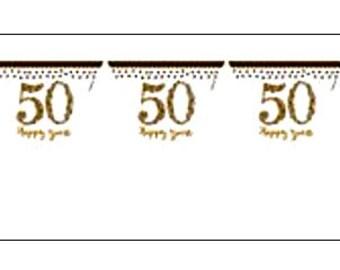 50th Anniversary banner, pennant flag bunting, Golden Wedding Bunting, 50th anniversary, party decoration, anniversary banner, UK seller