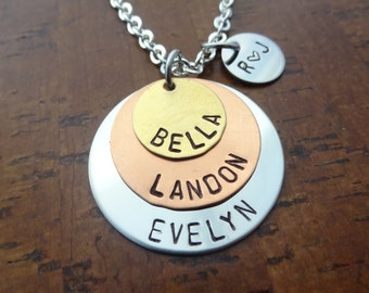 Layered Mixed Metal Family Necklace with names of Children and Parent initial Charm - Mother Necklace