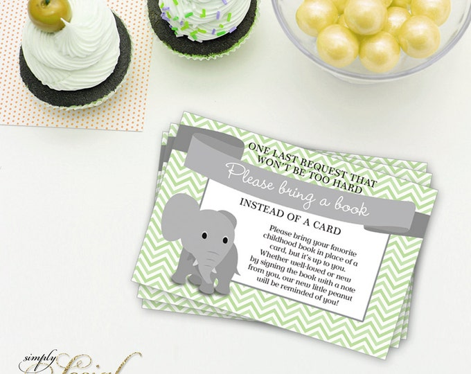 INSTANT DOWNLOAD Elephant Baby Shower Bring a Book Instead of a Card insert Mint Chevron PRINTABLE