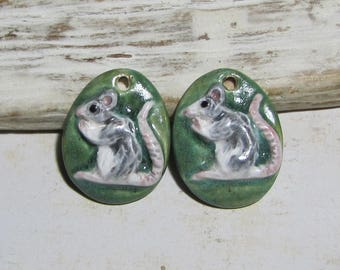 Charms rat handcrafted ceramic husky earrings-Marie