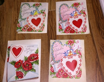 4 Valentine Cards 1950s Unused