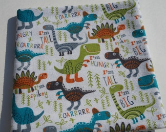 Baby Receiving Blanket, Dinosaur Blanket, Cute Dinosaurs, Baby Blanket, Flannel Blanket, Swaddle Blanket, Green and Blue, I'm Big Blanket