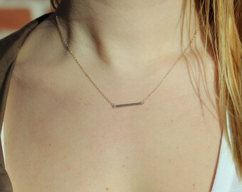 Minimal Thin Bar Necklace in Sterling Silver, Simple Bar Necklace, Layering Necklace