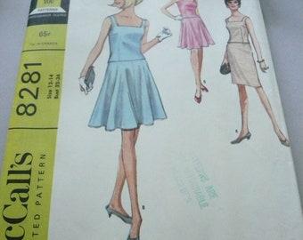 Vintage McCalls Pattern 8281  Misses Sleeveless 2 PIece  Dress Size 12-14