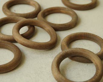 Old Solid Walnut wood Curtain Tapestry Rings  set of 8