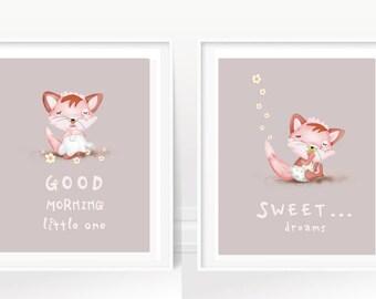 girl's art prints/ nursery art/cute baby fox/good morning/sweet dreams