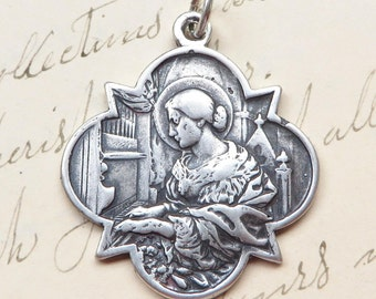 St Cecilia Medal - Patrons of girls, musicians, poets, engaged couples - Sterling Silver Antique Replica