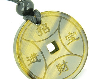 Amulet Lucky Coin Medallion Tiger Eye Good Luck Powers Pendant Necklace