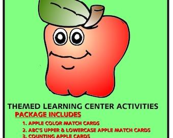 Apples - Themed  Activities Package for  Learning Centers  - Perfect for Preschool - Kindergarten - homeschool - Instant Download