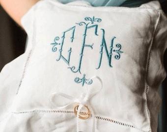 Monogrammed Ring Bearer Pillow