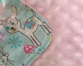 Personalized Minky Burp Cloth- Whimsical Forest Animals