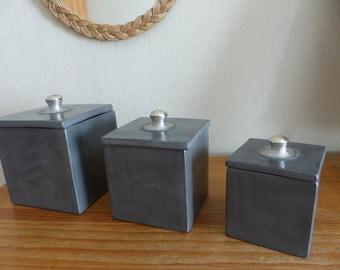 Set of 3 square boxes decoration grey tadelakt